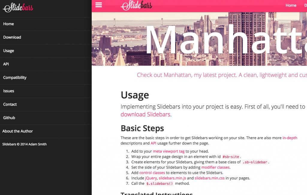 ドロワー・スライドインメニューでヘッダー固定【デモあり】jquery Slidebarsが最強!drawer slidein menu